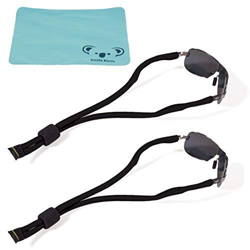 Koala Lifestyle Croakies Lycra Floater Floating Eyewear Retainer Sunglass Strap   Eyeglass & Glasses Float   Water Sports Holder Keeper Lanyard   2pk Bundle + Cloth, Black
