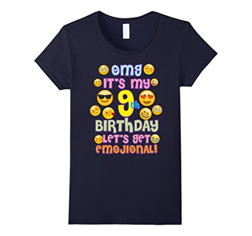 Girl Tee Birthday (Womens Emoji Birthday TShirt For Girls 9 Years Old OMG Emoji Small Navy)