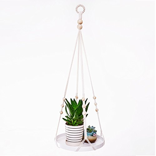 UL Macrame Planter Hanger with Large Tray 100% Handmade Wall Hanging Plants Bracket for Indoor Plants Home Decor Gift