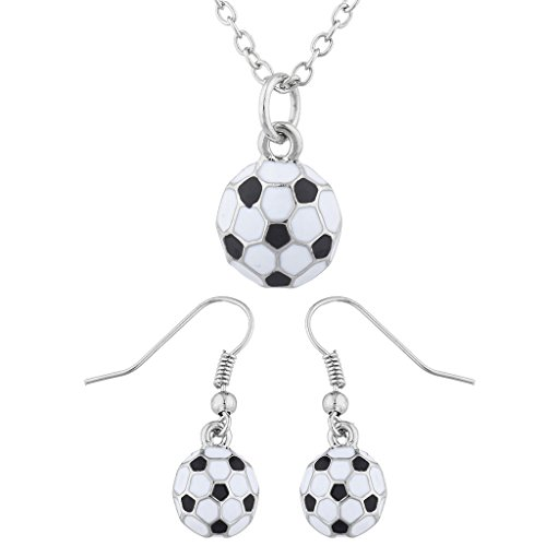 - Lux Accessories SilverTone Soccer Soccer Ball Sports Soccer Mom Necklace Set 2PC
