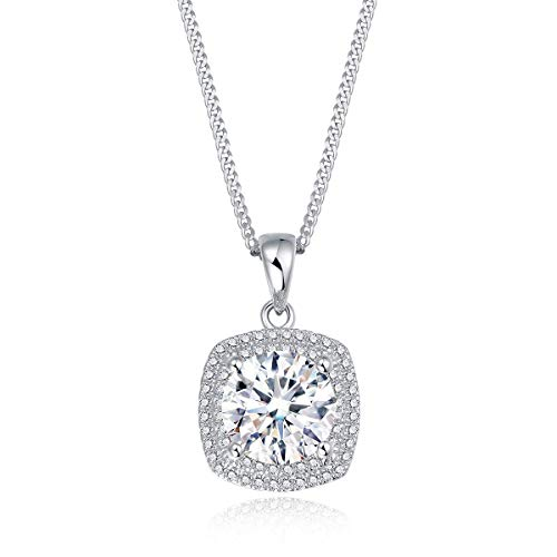 MYVATN Round & Princess Rhodium Plated Sterling Siver2.5ct Cushion Cut Petite Micropave Floating Halo Simulated Diamond CZ Pendant Necklace