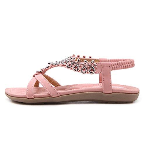 ZAMME Women's Soft Bottom Girls Causal Summber Beach Flat Shoes Pink 1zszkXHl