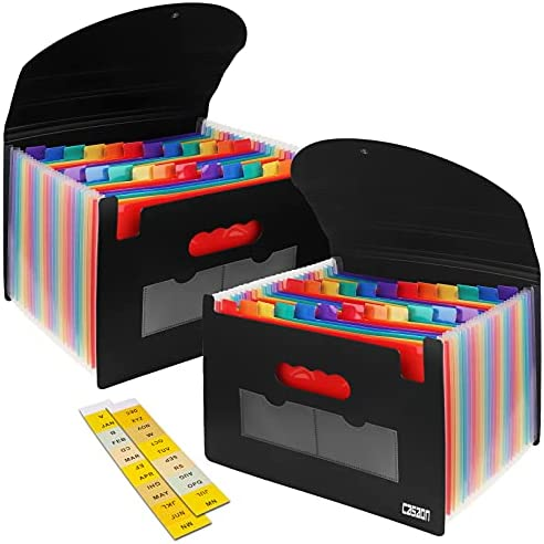 2 Pack Accordian File Organizer, Expanding File Folder 24 Pockets with Expandable Cover A4 Letter Size File Box, Portable Document Organizer – Black