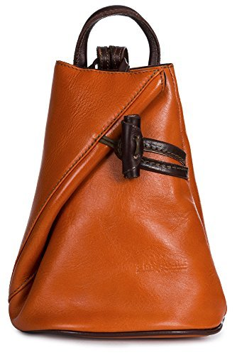 Brady byLiaTalia Womens Child Kids Convertible Strap Italian Leather Backpack Rucksack Duffle Shoulder Bag Handbag (Small/Mini - Orange (Italian Leather Duffle)