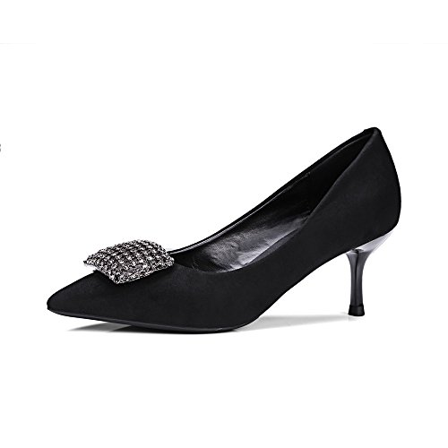 Nine Seven Moda Cuero Puntiagudos Zapatos de Tacón de Aguja con Diamantes de Imitacion de Vestir para Mujer negro