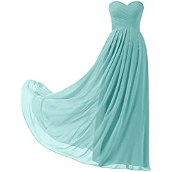 Remedios A-Line Chiffon Bridesmaid Dress Strapless Long Prom Evening Gown, #88 Aqua Blue,US8