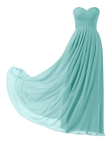 Remedios A-Line Chiffon Bridesmaid Dress Long Prom Evening Gown,#88 Aqua Blue,US6