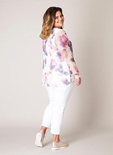 Yesta Sommer Shirt Damen große Größen Pailletten Weiß bunt bedruckt ...