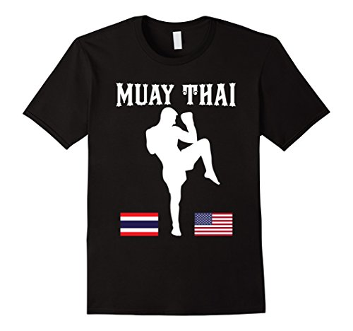 Walk Out Mma Shirt (Men's Muay Thai Shirt - MMA Walkout Shirt Thailand USA Flags Large Black)
