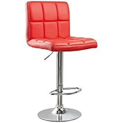 PU Leather Hydraulic Lift Adjustable Counter Bar Stool Dining Chair Red (150) Made By jersey seating®