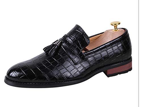 Tassel Crocodile - Fashion Men's Oxford Business Shoes-Classic Crocodile Pattern Tassel Cap Toe Leather Formal Dress Shoes Black