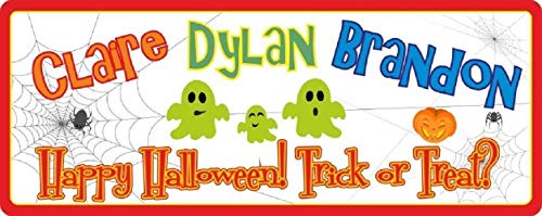 Happy Halloween Sign with Your Family Names - Custom Halloween Wall Art with Cute Ghosts & Spiderwebs - Trick or Treat Sign]()