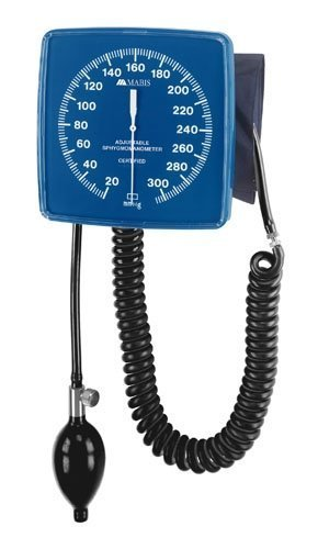 MABIS Legacy Professional Clock Aneroid Sphygmomanometer Blood Pressure Gauge with Adult Cuff, Wall Mounted, Blue by MABIS DMI Healthcare
