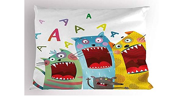Cream Orange Decorative Standard Size Printed Pillowcase Funny Colorful Graphic Kittens Cartoon Style Boys Girls Kids Playroom Nursery Ambesonne Cats Pillow Sham 26 X 20