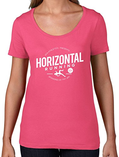 Horizontal Running - Fat Amy - Womens Scoop Neck T-Shirt - Azalea - Running For Clothes Fat Guys