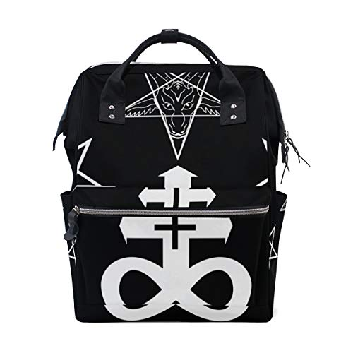 Diaper Bag Backpack with Signs of Devil Print for Mom/Dad, Wide Open Multi-Function Travel Backpack Nappy Bags -