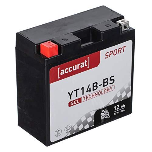 Accurat motorfietsaccu YT14B-BS 12Ah 190A 12V gel-technologie startaccu in OEM-kwaliteit cyclusvast veilig opbergbaar…