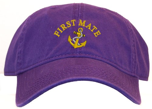 First Mate with Ships Anchor Embroidered Low Profile Ball Cap - (Anchor Ball Cap)