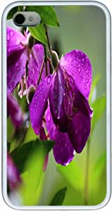 Purple Wild Peony Dew Snap On Hard Protective Case For Apple Iphone 4/4S White