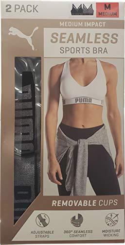 Puma Ladies Sports Bra Medium Size, 2 Count, Black - - Ladies Sports Bra