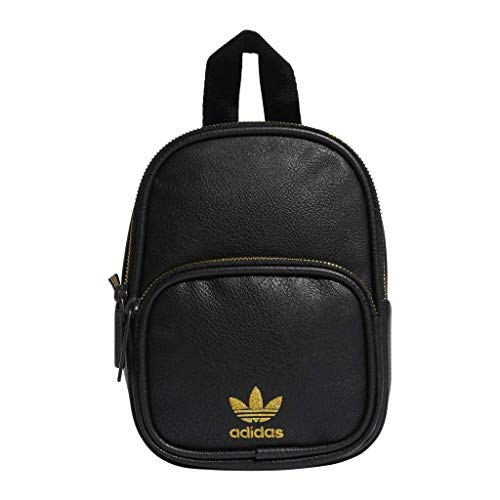 adidas Originals Mini PU Leather Backpack, Black/Gold, One Size