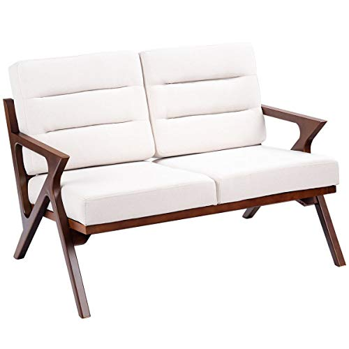 Two Seat Lounge Bench - Giantex Mid Century Vintage Loveseat, Solid Wood Construction, Padded Seat, Armchair Sofa Bench, Fabric Upholstered Wooden Two-Seat Lounge Chair