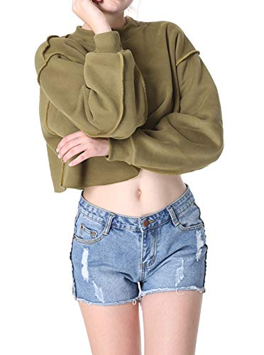 Casual Primavera Collo Jumper Giovane shirts Felpe Simple Tops Unita Pullover Rotondo Lunga Green A Manica fashion E T Corto Maglie Bluse Donne Maglietta Army Moda Tinta Autunno Maglioni U505aPq