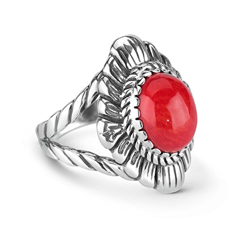 Red Sea Bamboo Ring - American West Sterling Silver Red Coral Bold Ring