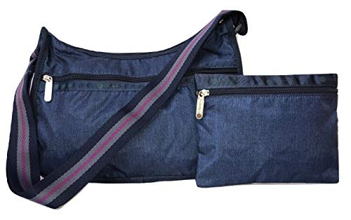 LeSportsac Timeless Denim Classic Hobo Crossbody Handbag + Cosmetic Bag, Tri-Color Strap, Iridescent, Style 7520/Color ()