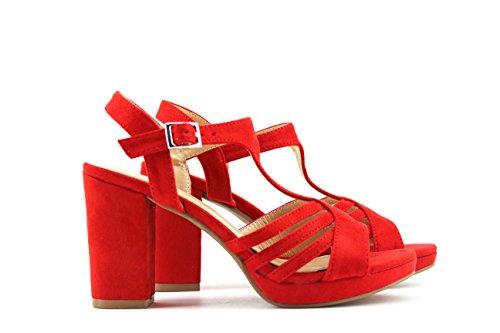 MODELISA Sandalia Tacón Plataforma Mujer Rojo