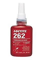 Loctite 262 red thread locker is compatible with metal materials with a 24 hr. cure time. Delivers great performance with a shear strength of 1450 psi and tensile strength of 189 psi. Minimum to maximum operating temperatures are -65 F to +30...