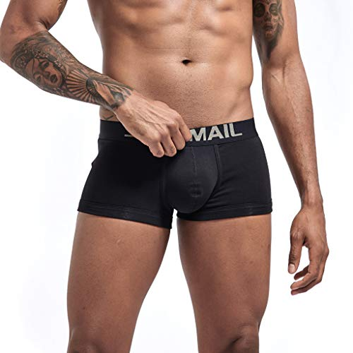 iHHAPY Boxer Briefs Men's Underpants Pure Color Breathable Sports Fitness Underwear Solid Soft Comfortable Patchwork Black ()