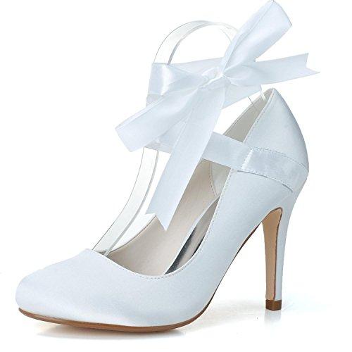 5623 Made Round Lace Damen Elobaby Brautjungfer Hochzeitsschuhe Elfenbein Toe YT Almond Gericht Ribbons Custom OnSqww4t8x