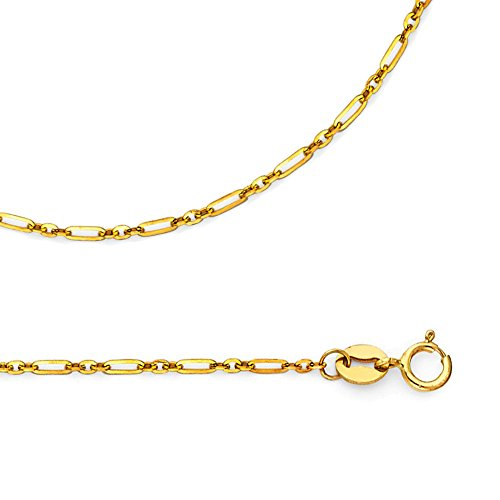 ZenJewels Solid 14k Yellow Gold Necklace Cable Chain Open Link Rolo Style Genuine Polished Thin 1.3 mm 22 inch