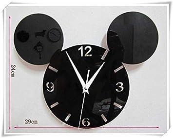 LTOOD Mickey Mouse Cartoon Reloj de Pared Quiz Reloj Digital de Diseño Moderno Pared Grande Relojes de Cocina horloge Mural en Wall Home Decor: Amazon.es: ...