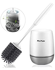 AivaToba Scopino per WC Silicone Scopini Bagno da Parete & da Terra Setole Morbide Spazzolino da Toilette con Asciugatura Rapida Portascopino per Bagno Camper