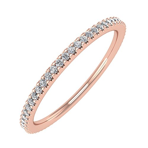 IGI Certified 10K Rose Gold Prongs Set Diamond Eternity Band Ring (0.16 Carat)