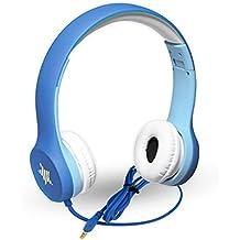 Children Wired Headphones Soundworx Kids Foldable Headphones Soft Padded Volume Limited Headphones for Kids BLUE