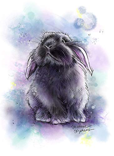 Holland Lop Bunny Art Print of Original Watercolor Painting, Rabbit Mom, Dad, Parent, Lovers Gift Idea; Pet Themed Party, Nursery Wall Decor; Rainbow Bridge Memorial, Pet Loss Sympathy ()