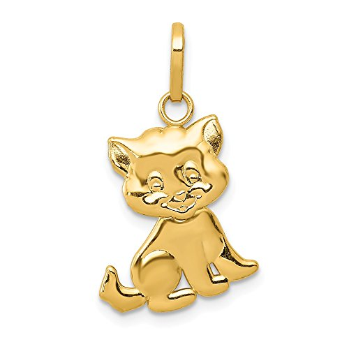 14K Yellow Gold Jewelry Pendants & Charms Solid Polished Moveable Cat Pendant (Yellow Cat Gold Charm)