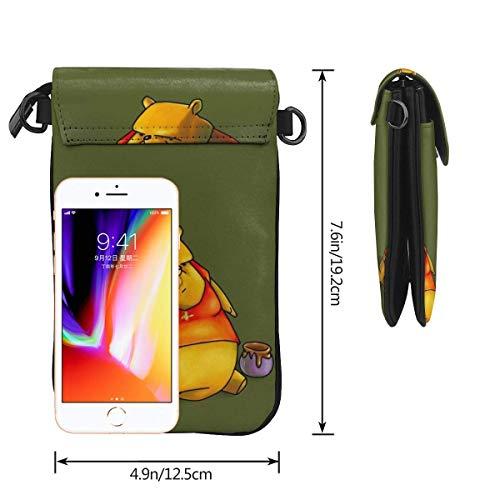 Hdadwy mobiltelefon crossbody väska Nalle Puh kvinnors crossbody handväskor handväska lätta väskor läder mobiltelefon hölster plånbok fodral axelväskor med justerbar rem