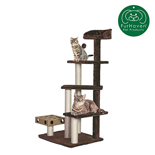 Furhaven Pet Cat Tree | Tiger Tough Cat Tree House Perch Entertainment Playground Furniture for Cats & Kittens, Play Stairs, Brown