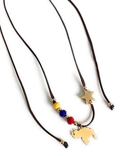 - Venezuela Choker Necklace Adjustable Tricolor Venezuelan Map Pendant