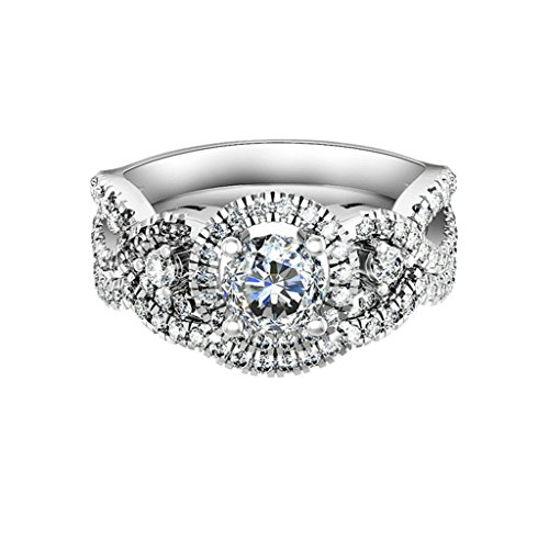 Bishilin Silver Plated Cubic Zirconia Halo Wedding Rings Silver For Women Size 8 by Ringfashion