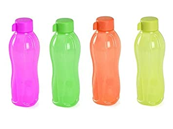 Tupperware Aquasafe juego de botella de agua de plástico, 1 L, juego de 4