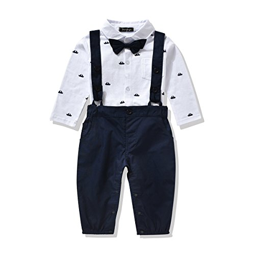 Ferenyi US Baby Boys Formal Party Wedding Tuxedo Jumpsuit Overalls Rompers (19-24 months, Navy (Toddler Blue Tuxedo)