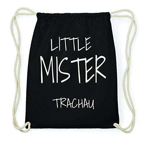 JOllify TRACHAU Hipster Turnbeutel Tasche Rucksack aus Baumwolle - Farbe: schwarz Design: Little Mister N3SRdWzfI