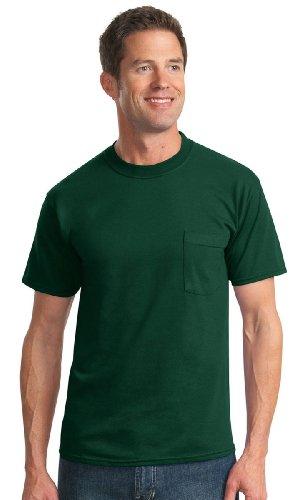 Jerzees Men's Heavyweight Chest Pocket T-Shirt, L, Forest Green