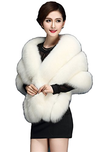 Hhdress Faux Fur Shawls Christmas Womens Winter Jacket for Wedding (White)