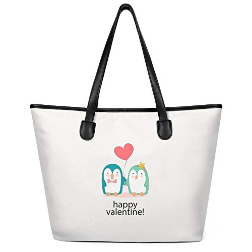 12.5X14 Inches Cute Zip Stylish Canvas Large Tote Bag For Women Penguin Happy Valentine Foldable Grocery Beach Work Gym Book Lunch School Shopping Shoulder Handbag